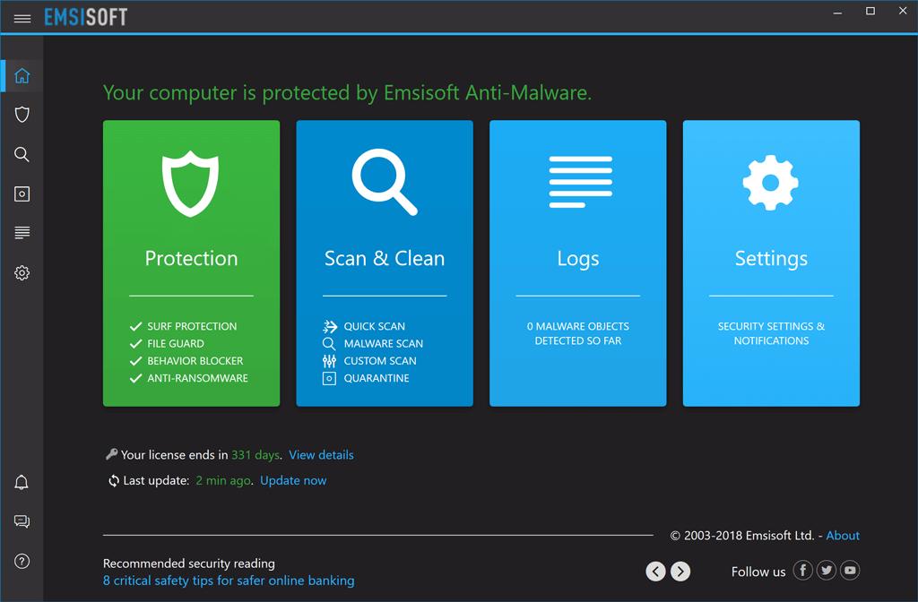 Antivirus Emsisoft Anti-Malware, 1 PC, 3 Ani, Licenta Noua,  EMSI-AM-1-3-LN