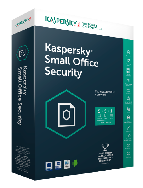 Antivirus Kaspersky Small Office Security for Desktops, Telefoane mobile si Servere de fisiere European Edition, 5-licente smartphone, 5 licente, 1-licente server de fisiere, 5-licente, 3 Ani, Reinnoire, Electronica, KL4541XCETR,  KL4541XCETR