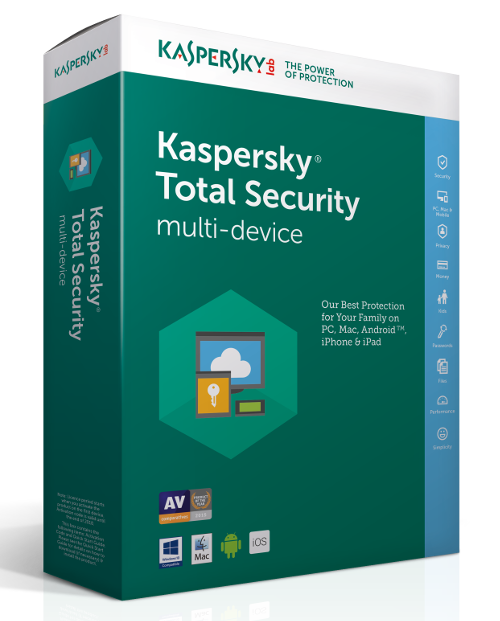Antivirus Kaspersky Total Security European Edition, 1 licenta, 1 cont Kaspersky Passord Manager, 1 cont Kaspersky Safe Kids, 1 An, Noua, Electronica, KL1949XCAFS,  KL1949XCAFS